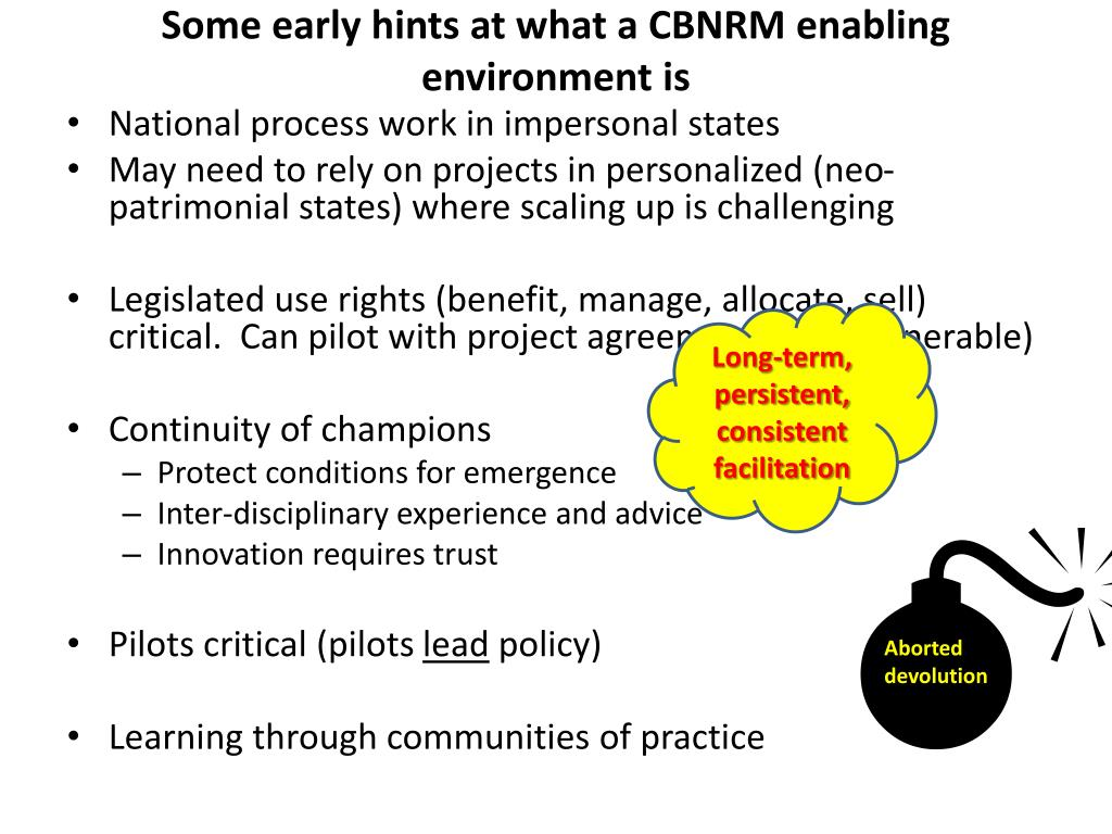 Some early hints at what a CBNRM enabling environment is