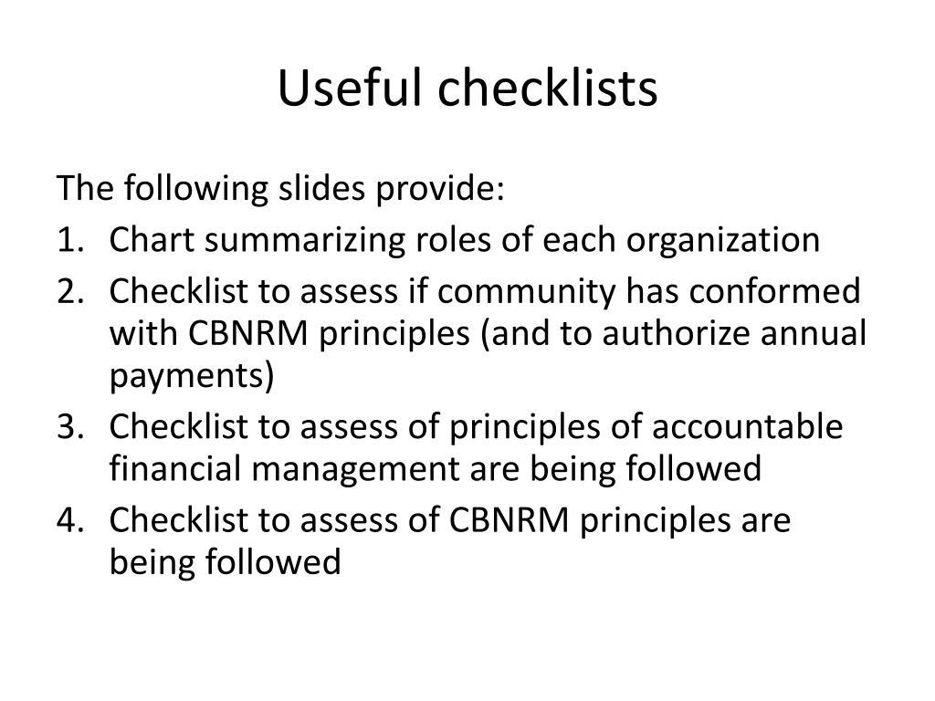 Useful checklists