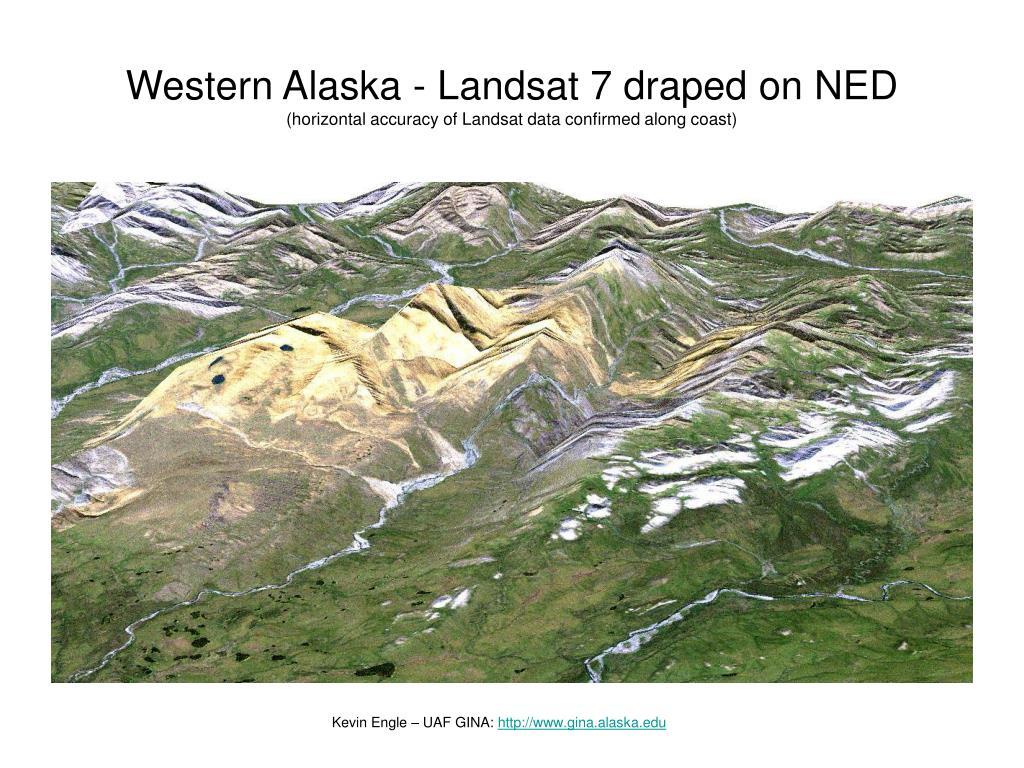 Western Alaska - Landsat 7 draped on NED