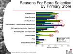 reasons for store selection by primary store