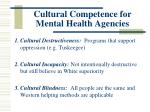 cultural competence for mental health agencies