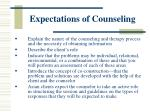 expectations of counseling