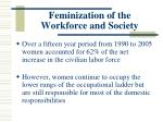 feminization of the workforce and society
