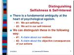 distinguishing selfishness self interest