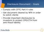 disclosure document goals