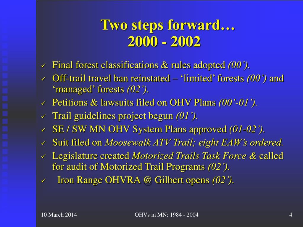 Two steps forward…