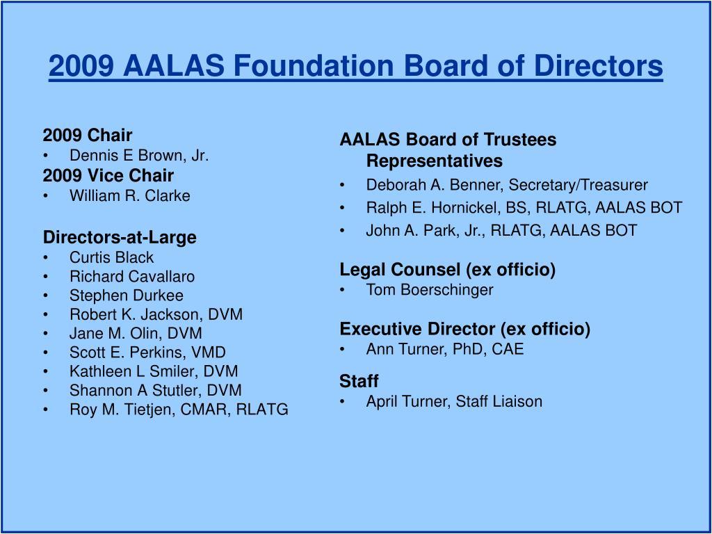 2009 AALAS Foundation Board of Directors