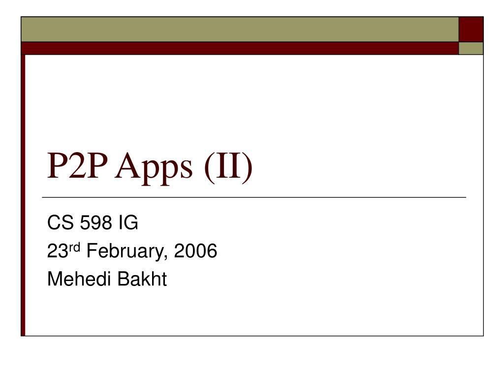 p2p apps ii l.