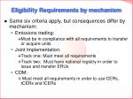 eligibility requirements by mechanism