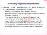 inventory eligibility requirement