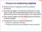 process for establishing eligibility