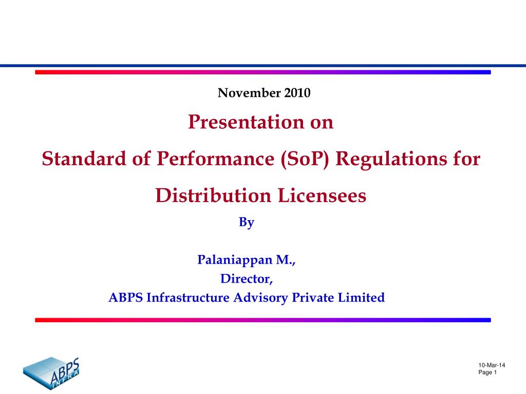 presentation on standard of performance sop regulations for distribution licensees l.