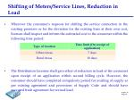 shifting of meters service lines reduction in load
