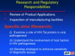 research and regulatory responsibilities