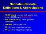 neonatal perinatal definitions abbreviations