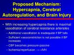 proposed mechanism hypercapnia cerebral autoregulation and brain injury