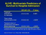 alive multivariate predictors of survival to hospital admission