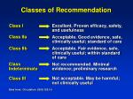 classes of recommendation