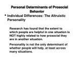 personal determinants of prosocial behavior20