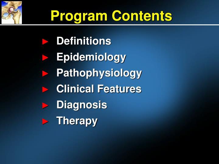 Program contents