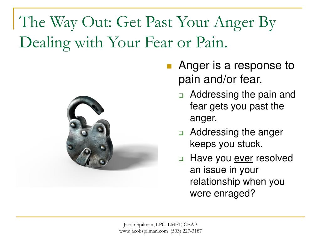 The Way Out: Get Past Your Anger By Dealing with Your Fear or Pain.