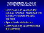 consecuencias del dolor postoperatorio tor cico