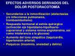 efectos adversos derivados del dolor postoracotom a