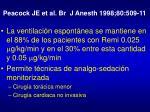 peacock je et al br j anesth 1998 80 509 11