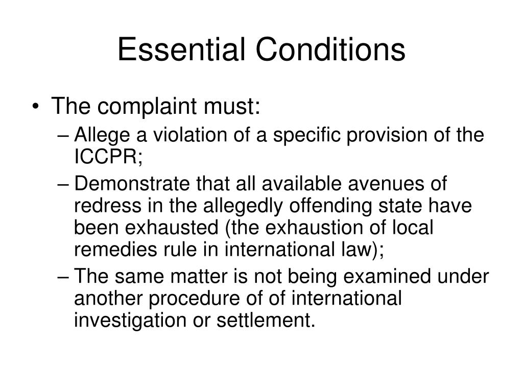 Essential Conditions