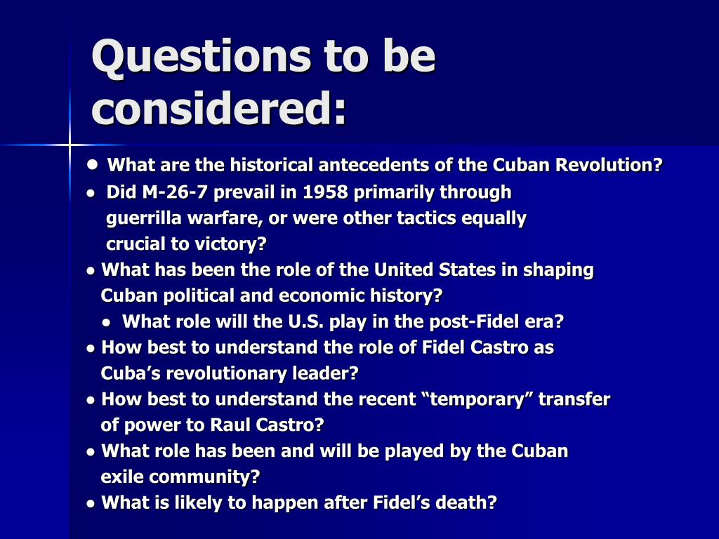 Questions to be considered: