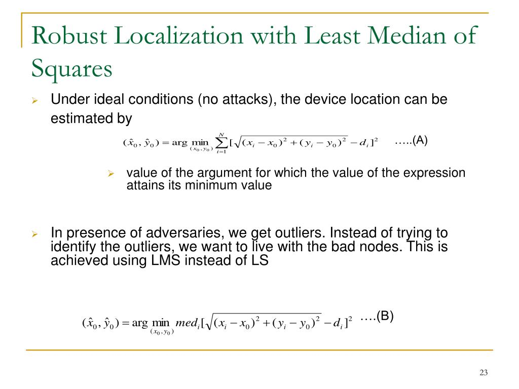 Robust Localization with Least Median of Squares