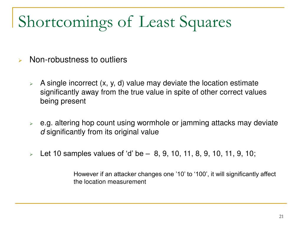 Shortcomings of Least Squares