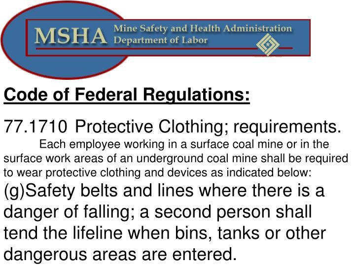 Code of Federal Regulations: