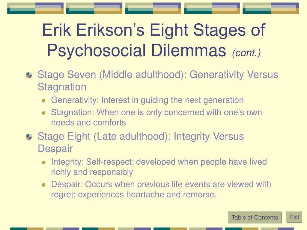 Erik Erikson's Eight Stages of Psychosocial Dilemmas