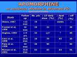 apomorphine sc continous infusion in advanced pd open label studies