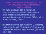 associazione da agonisti e l dopa interazione farmacodinamica dati preclinici