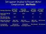 da agonist studies to prevent motor complications methods