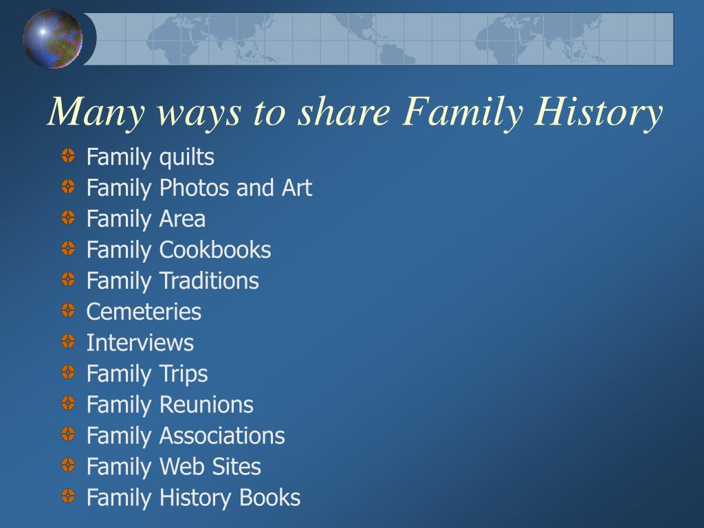 Many ways to share Family History