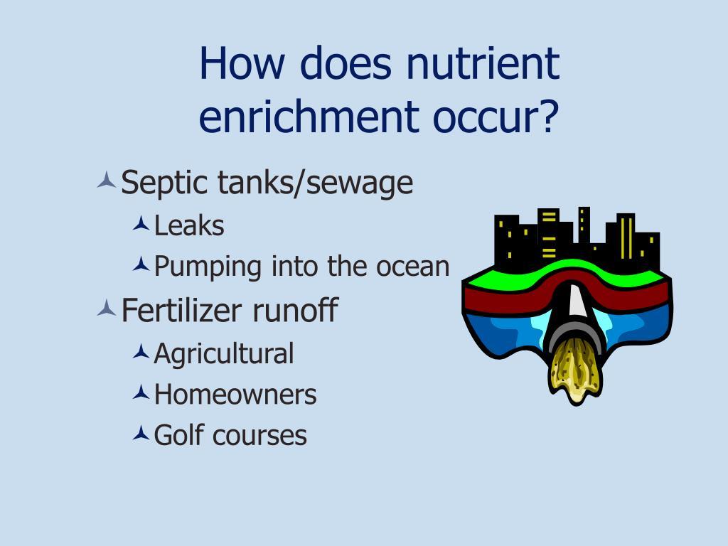 How does nutrient enrichment occur?