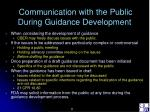 communication with the public during guidance development