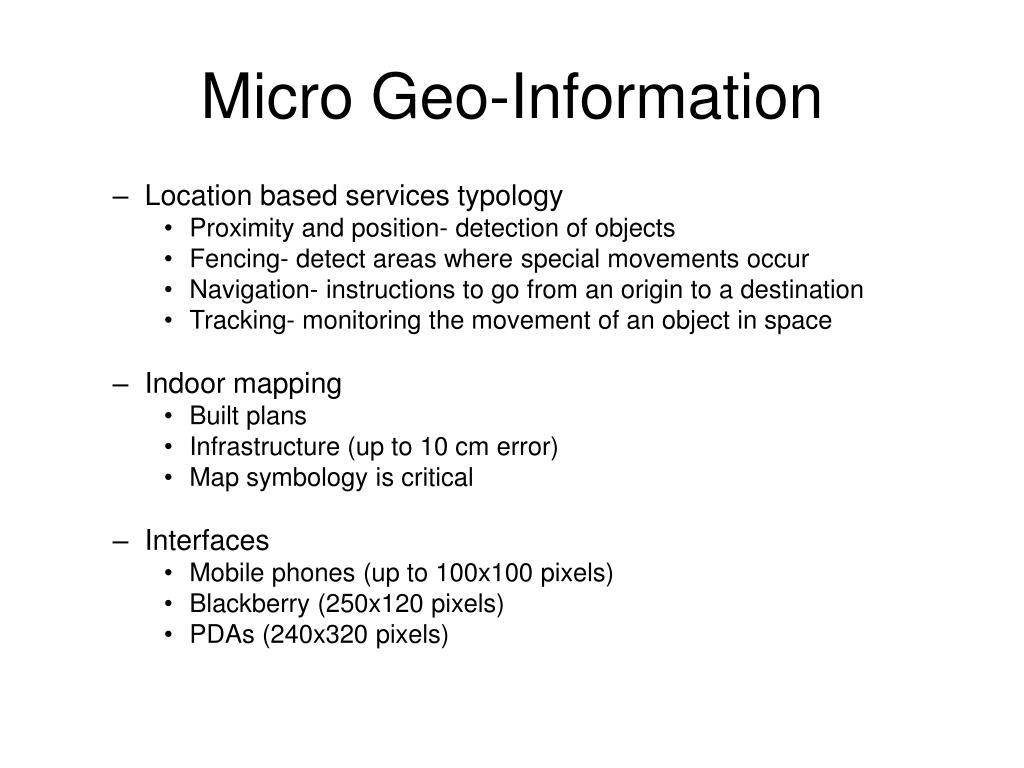 Micro Geo-Information
