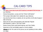 cal card tips
