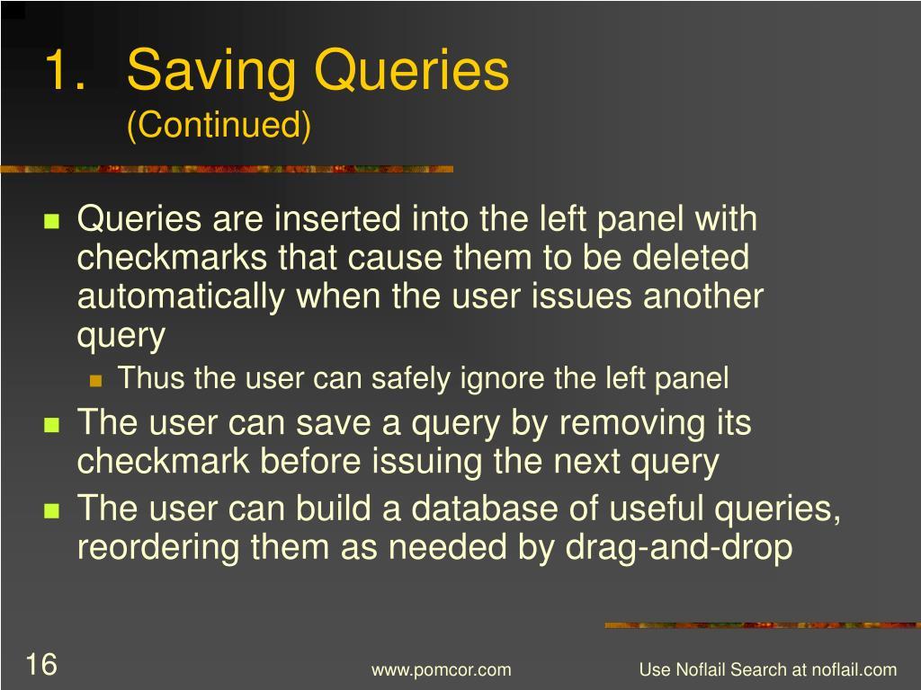 Saving Queries