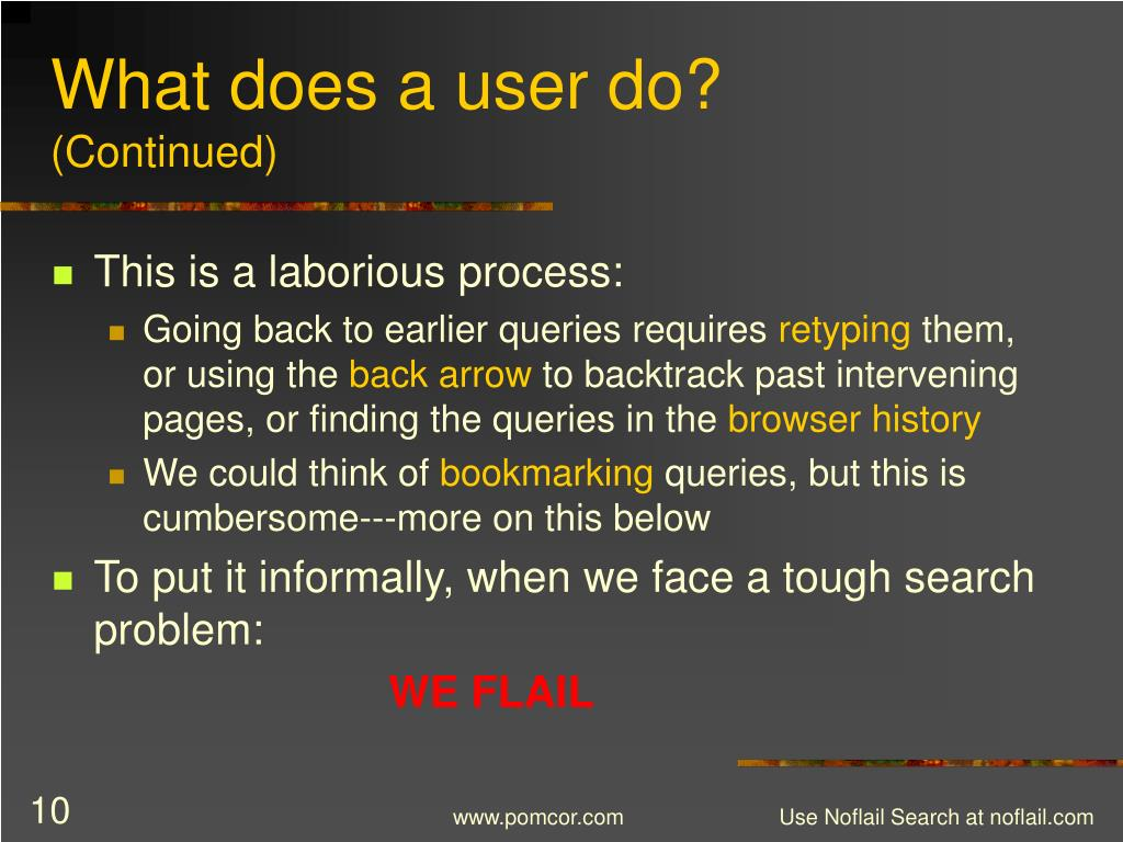 What does a user do?