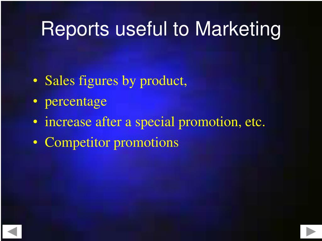Reports useful to Marketing