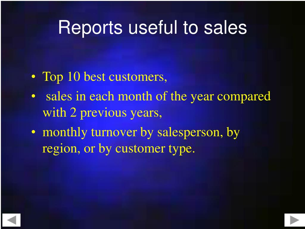 Reports useful to sales