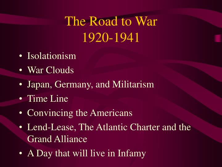 The road to war 1920 1941