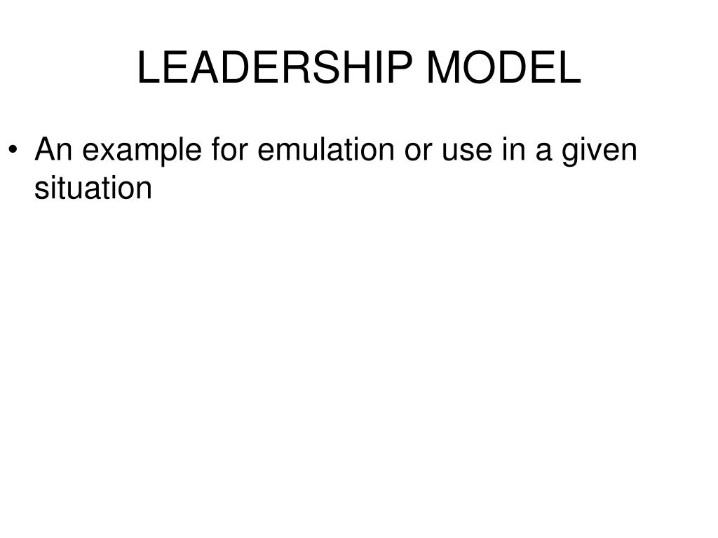 An example for emulation or use in a given situation