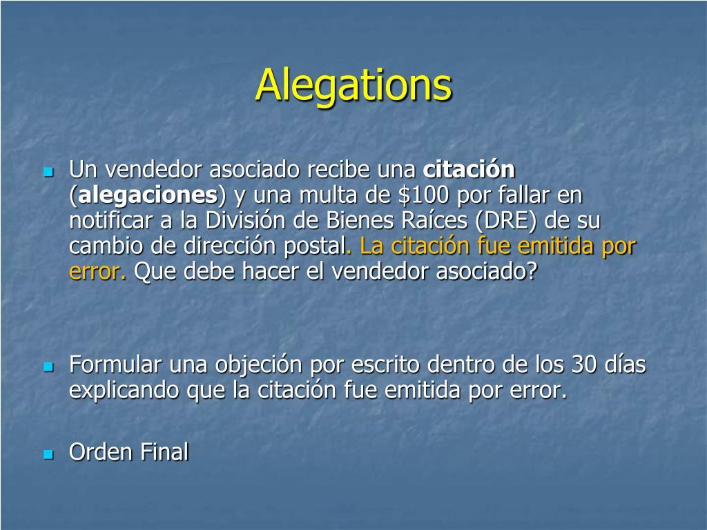 Alegations
