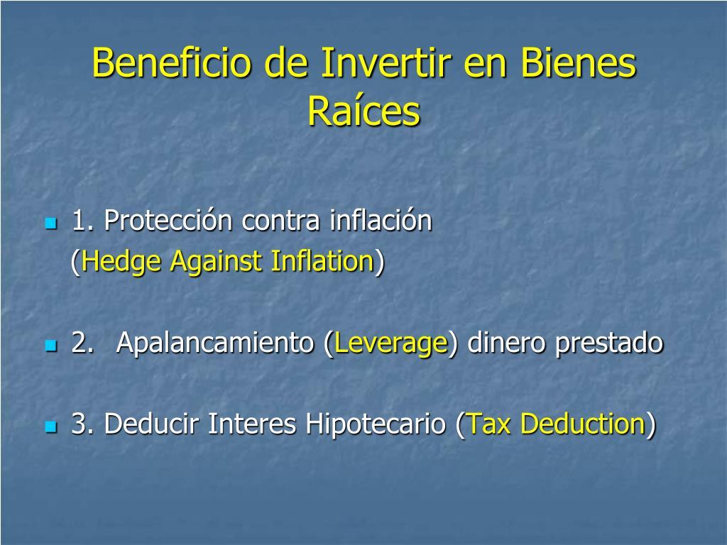 Beneficio de Invertir en Bienes Raíces